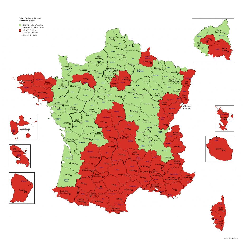 Départements en France égibilité Offre d'isolation de vide sanitaire à 1 euro