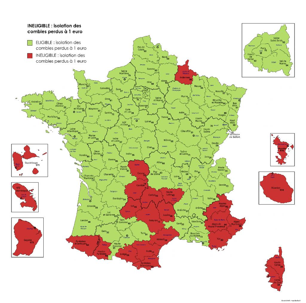 départements France éligibilité Isolation combles perdus à un euro