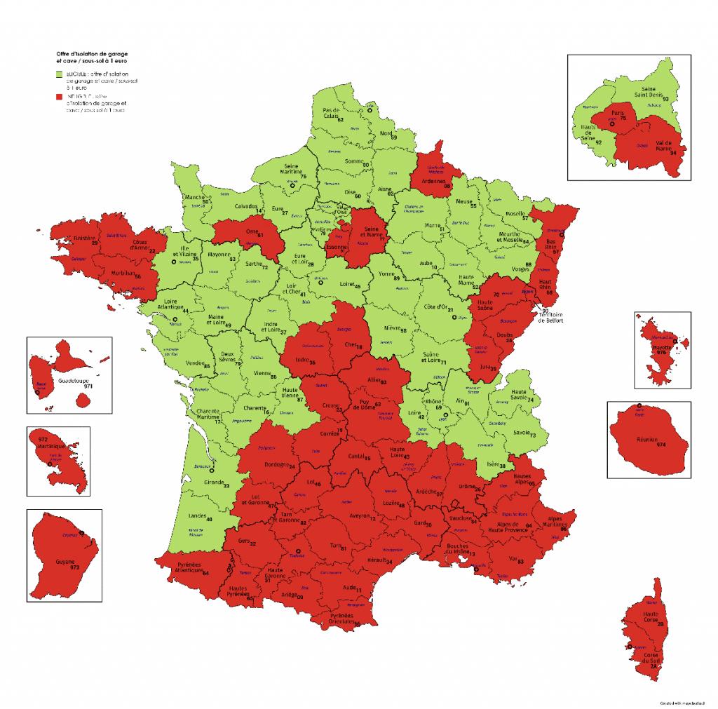 Départements France éligibles Offre d'isolation de garage et cave / sous-sol à 1 euro